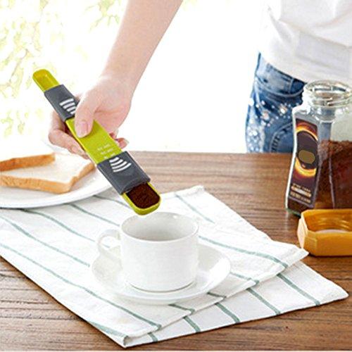 LONGWDS Escala Escalas de Cocina portátiles Medir cucharas de Herramientas de Hornear Ajustables para Sal de té de café en Polvo de té. Herramienta de Medida