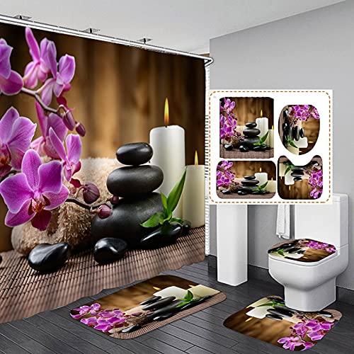 dodouna Lila Schmetterling Orchidee Flanell Badematte Toilettenabdeckung Teppiche Stoff Duschvorhang Mit 12 Haken Home Badezimmer Dekor Set 180x180cm