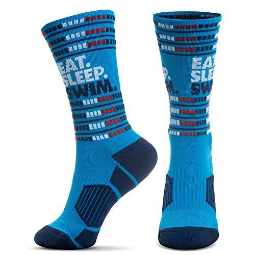 ChalkTalk SPORTS Swim Athletic Mid-Calf Woven Socks | Eat. Sleep. Swim. Lanes Socks | Blue