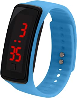 JKoYu Smart Watch Smart Bracelet Fashion Unisex Digital LED Silicone Band Sports Wrist Watch Adjustable Bracelet - Light Blue