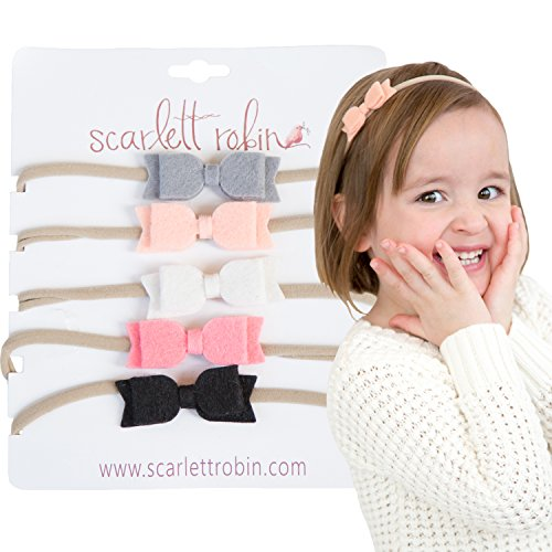 """5 Hair Bows for Girls and Babies on Nylon Headbands Multi-Pack {""""Snow White""""}"""