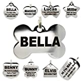 dog id tags personalized - Stainless Steel Pet ID Tags - Engraved Personalized Dog Tags, Cat Tags Front & Back up to 8 Lines of Text – Bone, Round, Heart, Flower, Badge, House, Star, Rectangle, Bow Tie