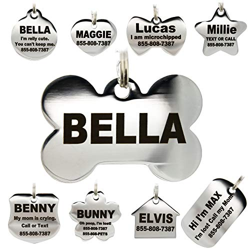 Stainless Steel Pet ID Tags - Engraved Personalized Dog Tags , Cat Tags Front & Back up to 8 Lines of Text