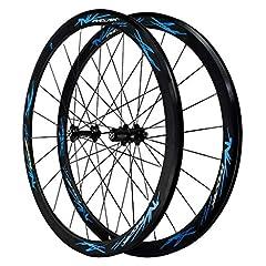 MZPWJD Väg hjul hjulSet 700c Fälg broms dubbel vägg ljus legering fälg 40mm cykelhjul QR 7-12S-kort Hub 1890g (Färg : Blå)