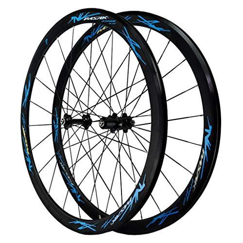 MZPWJD Rennrad Laufradsatz 700c Felgenbremse Doppelwandige Leichtmetallfelge 40mm Fahrrad-Rad QR 7-12S Kartenhub 1890g (Color : Blue)