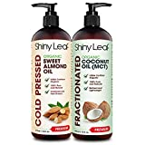 Organic Sweet Almond Oil and Fractionated Coconut Oil Bundle for Hair and Skin, 100% Pure and Natural, Hexane-Free, Moisturizing, For Healthy Skin, Silky Hair, Multiuse Body Oil, 16 fl. Oz X 2