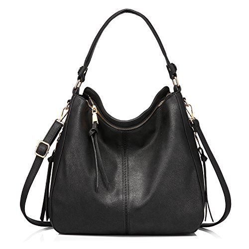Handtaschen Damen Lederimitat Umhängetasche Designer Taschen Hobo Taschen groß Mit Quasten Schwarz