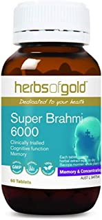 Herbs of Gold Super Brahmi 6000 60 Tablets, 60 count