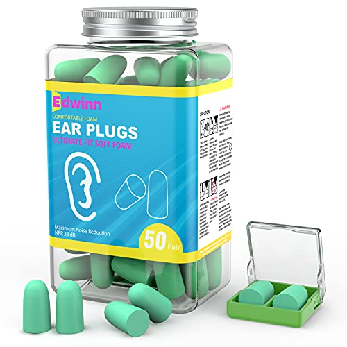 Edwinn Soft Foam Ear Plugs, NRR 33 dB - 50 Pair Upgraded Ear Plugs for Sleeping Noise Cancelling, Snoring, Studying, Travel, Work & Loud Noise, Great for Noise Reduction & Hearing Protection.