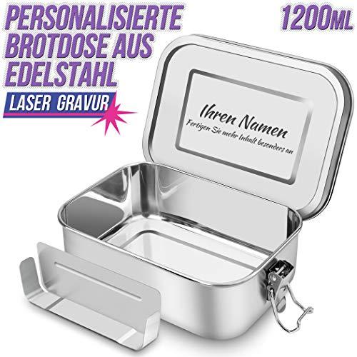 SHINYO Personalisierbar Auslaufsicher Edelstahl Brotdose, Personalisiert Bento Box mit Gravur, BPA und plastikfreie Lunchbox mit Flexibler Abtrennung, Nachhaltig, für Kinder und Erwachsene 1200ML