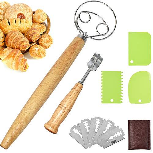 NEW NOAM Rostfreier Stahl Bread Lame Dänischer Brotteig-Schneebesen Bäckermesser Brot backen Zubehör Teigmesser Knetmaschine Zum Backen von Brotteig
