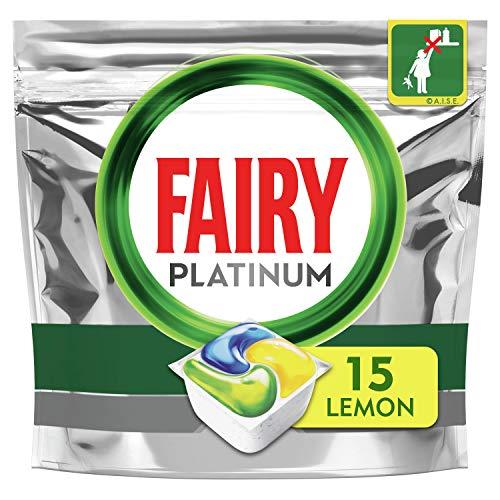 Fairy Platinum - Cápsulas para lavavajillas todo en uno de limón, 15 cápsulas para desafíos difíciles, limpia los residuos de grasa en el filtro