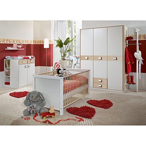 Wimex Babyzimmer Set Jalta, bestehend aus Schrank, Babybett und Wickelkommode, Liegefläche 70x140 cm, Weiß