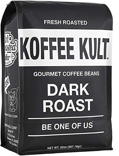 Koffee Kult Coffee Beans Dark Roasted - Highest Quality Delicious Organically Sourced Fair Trade - Whole Bean Coffee - Fresh Gourmet Aromatic Artisan Blend (32oz Direct Ship)