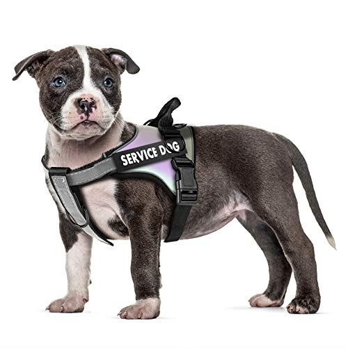 voopet Service Dog Harness, Laser Reflective Safety Dog Vest Harness, Outdoor Waterproof Pet Halter - Soft Padded Fabric Adjustable No Pull Harness with Handle & Leash Clips Easy to Control