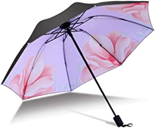Psychedelic Pink Starry Sky fashion print cute Windproof automatic tri-fold umbrella sun UV protection Sun umbrella