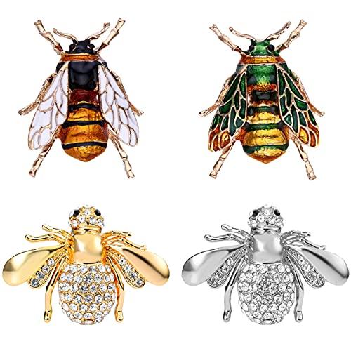 Nifocc Broche de abeja para insecticida vintage, broche para hombres y mujeres, vestido, suéter, abrigo, sombrero, decoración, 4 unidades, dorado, plateado, blanco y verde