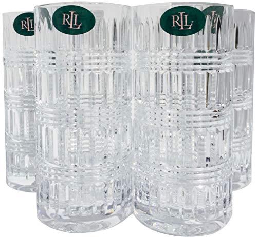Lauren By RALPH LAUREN Ettrick Pattern Highball Drinkware Set of 4 Crystal Glasses 11.6 Ounces