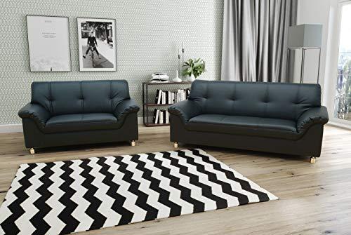 Domo Collection Dole COUCH 3-Sitzer / 3-Sitzer Sofa / Breite: 191 cm / Bezugsstoff: Kunstleder in schwarz, 3-2 Sofa Garnitur