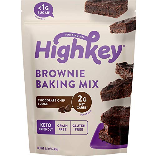 HighKey Snacks Keto Brownie Food Mix - Chocolate Chip Fudge - Low Carb Sweets & Treats - Gluten Free, No Sugar Added Dessert - Diabetic, Paleo Protein Foods, Naturally Sweetened Products