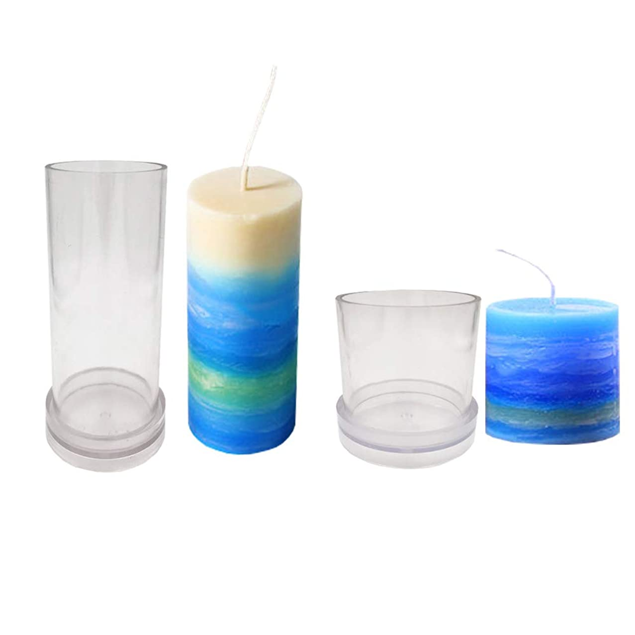 Candle Molds for Candle Making Plastic Pillar Candle Making Kit Large Cylinder Rib Candle Making Molds DIY Candle Making Supplies Set of 2 PCS