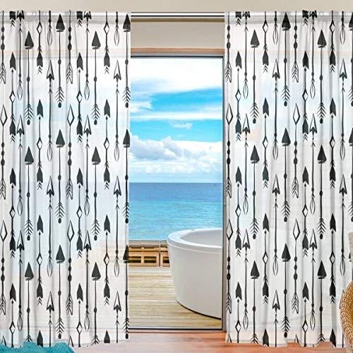 Eastery Fenster Sheer Vorhänge Panels Voile Drapes Schöne Einrichtung Schwarz Und Einfacher Stil Weiß Pfeile 139,7 cm W X 198,1 cm L 2 Platten Ideal Für Wohnzimmer Schlafzimmer Girl Room Textil