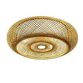 AHQX Lampe À Suspension en Rotin Naturel Lustre en Bambou Lumières Creative E27 Plafonnier Abat-Jour Fait À La Main…