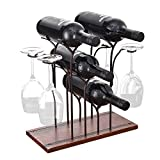 BENOSS Rustic Countertop Wine Rack with Glass Holder, Hold 4 Wine Bottles and 4 Glasses Tabletop Wine Rack, Perfect for Home Decoration & Kitchen Storage, Simple Assembly, Wood & Metal