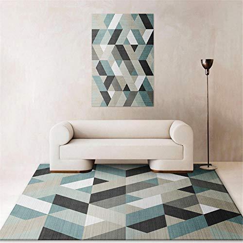 Kunsen alfombras para Comedor alfombras Salon Modernas Sala de Estar Alfombra geométrica Azul Gris Dormitorio decoración Moderna Alfombra Salon Grande 60X90CM 1ft 11.6' X2ft 11.4'