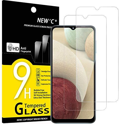 NEW'C 2 Unidades, Protector de Pantalla para Samsung Galaxy A12, Galaxy A02s, Antiarañazos, Antihuellas, Sin Burbujas, Dureza 9H, 0.33 mm Ultra Transparente, Vidrio Templado Ultra Resistente