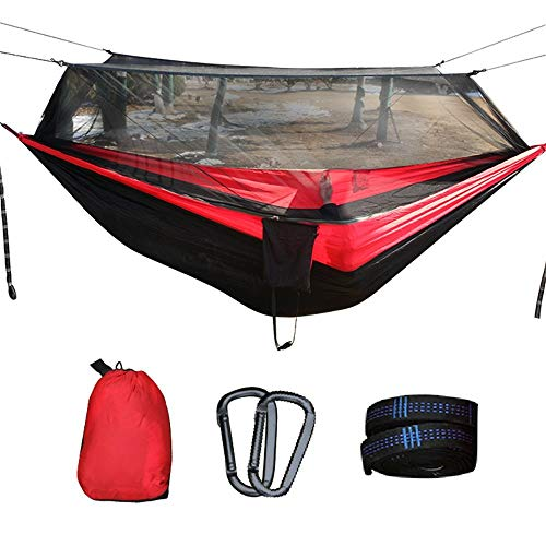 LFDHSF Hammock, Hammock, with Mosquito Net Portable Lightweight Nylon Parachute Multifunctional Net and Tree Strap for Outdoor Sleeping Camping Beach
