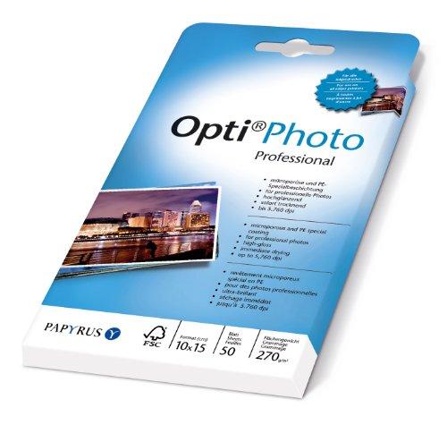 Papyrus 88081860 Fotopapier Opti Photo Professional: 10x15 cm, 270 g/m², 50 Blatt, Weiß, hochglänzend, Sofort Trocken, für Tintenstrahldrucker