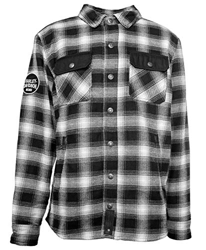 HARLEY-DAVIDSON Herren Biker Hemd Jacke Flanell Karo aus Baumwolle Arterial, 2XL