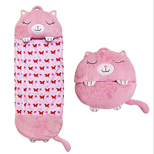 AYQX Niedliche Cartoon-Plüschkissen, Variable Schlafsäcke für Kinder, Super Weich und Warm, Sehr Geeignet für Pyjama-Partys, Innen- und Außenbereich,A