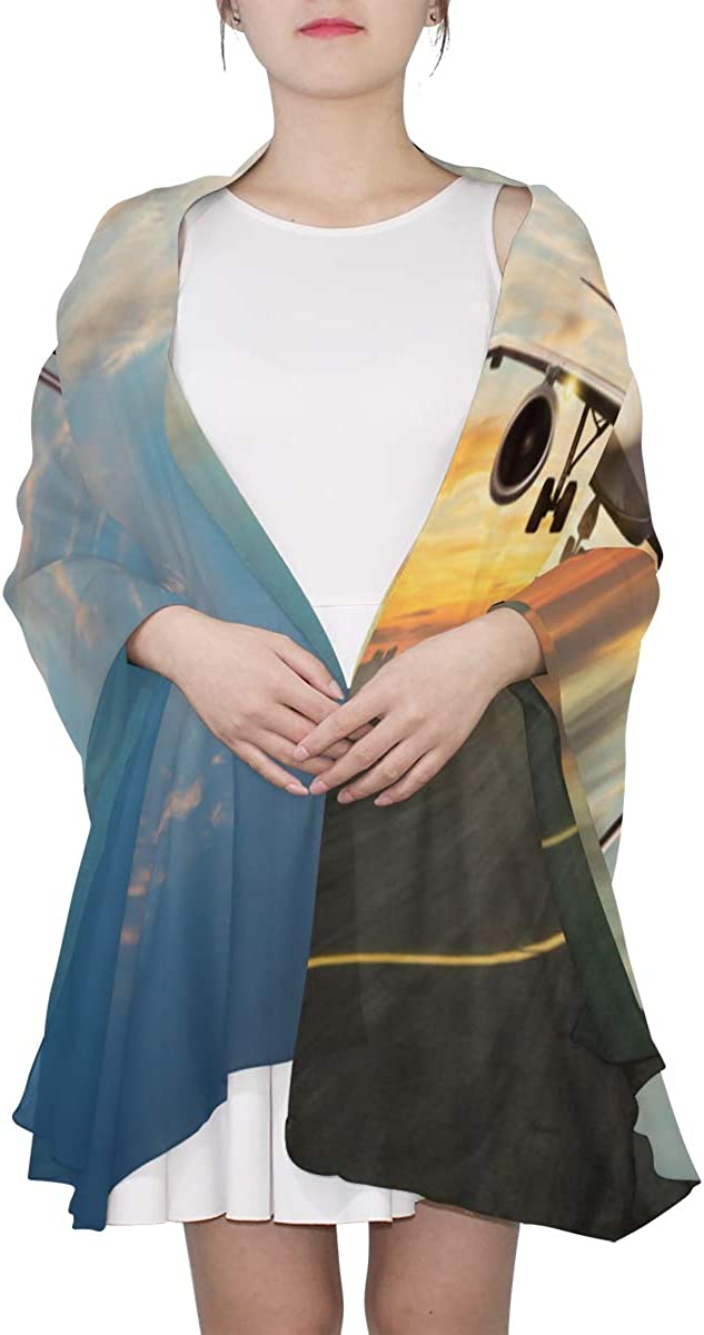 Airplane In The Sky At Sunrise Unique Fashion Scarf For Women Lightweight Fashion Fall Winter Print Scarves Shawl Wraps Gifts For Early Spring
