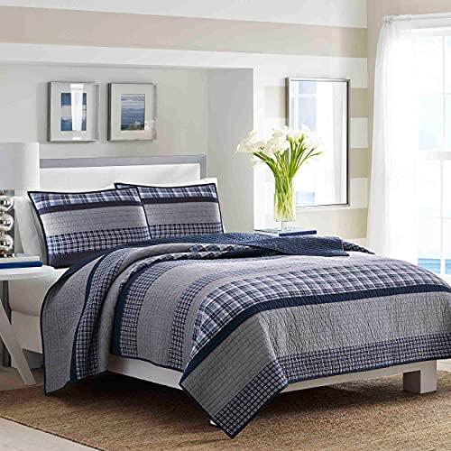Nautica Adleson Cotton Pieced Quilt Full/Queen Blue/Grey