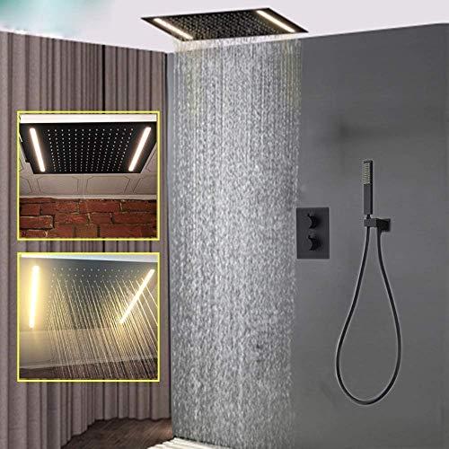 YAMEIJIA douchekop zwart oppervlaktebehandeling 304SS regendouche set LED Electric Power thermostaat mengkraan verborgen