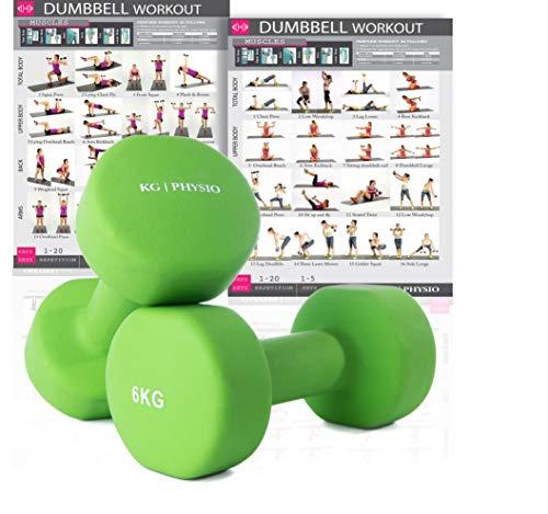 KG Physio Pesi Palestra in Casa Fitness e Palestra Manubri e Pesi Fitness Pesi per Palestra Manubrio (Set di 2) 1-10kg Poster di Allenamento Incluso (6kg)