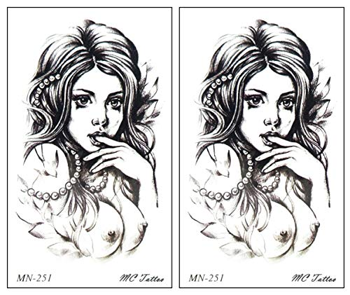Mini Tattoos 2 Sheets Sexy Naked Girl Tattoos Waterproof Temporary Art Cartoon Fantasy Sticker Painting Make up Sexy Body Fake Tattoo for Men Women (B)
