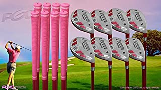 "Senior Ladies iDrive Pink Golf Clubs All Hybrid Set 55+ Years Womens Right Handed Lady Full True Hybrid Complete Rescue Set which Includes: #3 4 5 6 7 8 9 +PW New Rescue Utility ""Senior"" Flex Club"