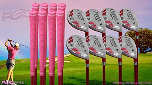 Senior Ladies iDrive Pink Golf Clubs All Hybrid Set 55+ Years Womens Right Handed Lady Full True Hybrid Complete Rescue Set which Includes: #3 4 5 6 7 8 9 +PW New Rescue Utility 'Senior' Flex Club