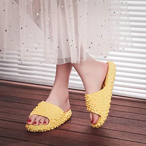 B/H Suave Bañarse Chanclas,Durian Zapatillas de Muffin de Fondo Grueso para Mujer, Use Zapatos de Playa, Sandalias de Fondo Suave-Lotus Yellow_39,Zapatillas Home Respirables