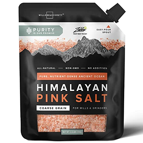 Willow & Everett Pink Himalayan Salt - 2.2lb / 1kg - Coarse Grain Grinder & Mill Refill, Easy Pour Spout, Non-GMO - Kosher Rock Salt For Cooking