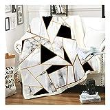 Stillshine. Kuscheldecke Flanell Mikrofaser Marmor Bunt Muster Geometrie Polygon 3D Drucken Decke Weich Wohndecke Tagesdecke Dicke Sofadecke Sofa und Bett (Farbe 8, 150 × 200 cm)