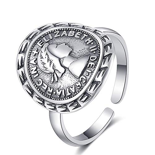 MOOKO Ring für Damen S925 Sterling Silber Ring Retro Porträt Medaille Geometrische Münzring Zeigefingerring