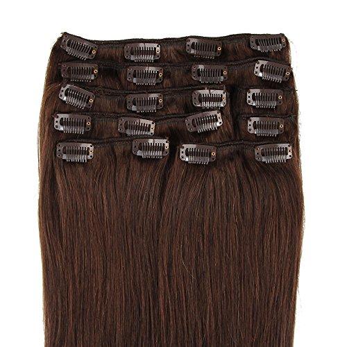 Beauty7 Extensions de Cheveux a Clips Humains 100% Remy Hair #2 Brun Longueur 66 cm Poids 120 grams