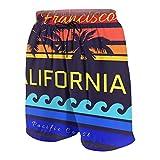 Pantalones de playa para adolescentes,Tipografía de California Beach San Francisco Ocean Beach Diseño de impresión Ropa deportiva Ropa Ca Ropa original,Ropa de playa Trajes de baño Shorts de playa L