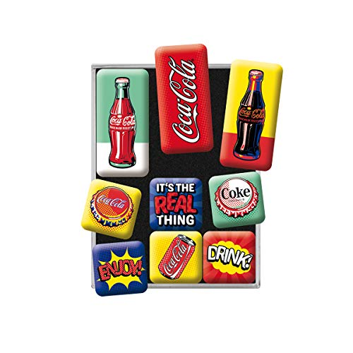 Nostalgic-Art Retro Kühlschrank-Magnete Coca Cola – Pop Art – Geschenk-Idee für Coke-Fans, Magnetset für Magnettafel, Vintage-Design, 9 Stück
