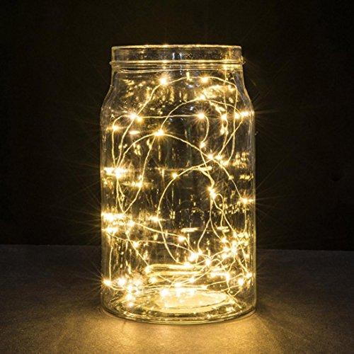 Malloom 1 m chaîne fée lumière 10 LED batterie de Noël feux de mariée partie lampe (jaune)