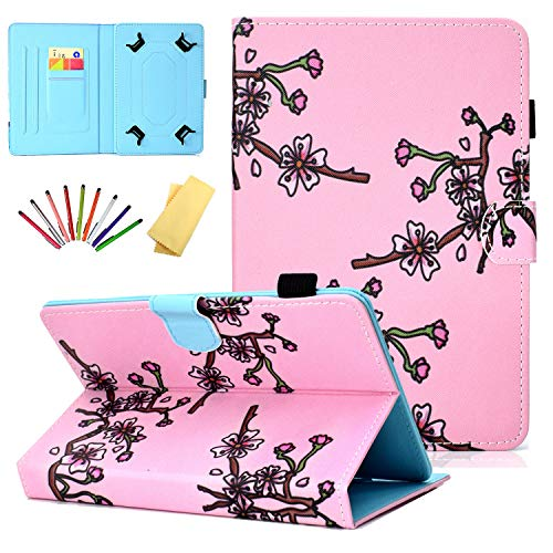 Universal Case for 7 inch Tablets, Uliking Folio Stand Cover with Pencil Card Holder for 6.8' 7' (6.5'-7.5') Samsung Tab 2/3/4/A/E 7.0/Fire 7/for Lenovo/Huawei mediaPad 7/Asus,ect, Pink Plum Blossom